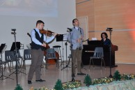 On the stage of Baku Branch of Lomonosov MSU student of Philology Faculty Teymur Khanbutayev playing the violin and student of Chemistry Faculty Alexey Tushev playing the clarinet