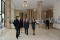 Official opening ceremony of the new campus. From left to right: I.H. Aliyev, President of Azerbaijan; M.A. Aliyeva, the first lady of Azerbaijan; Professor N.A. Pashayeva, Head of Baku Branch of Lomonosov Moscow State University